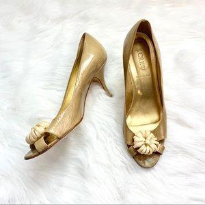 J Crew Tan Open Toe Heels Size 8